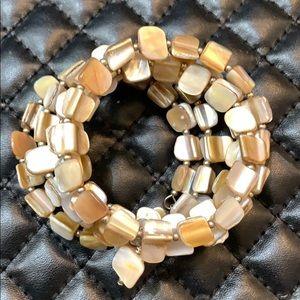 Anthropology Genuine MOP Shell Bead Bracelet